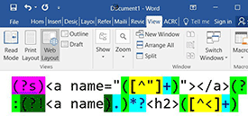 Formatted RegexBuddy pattern in MS Word